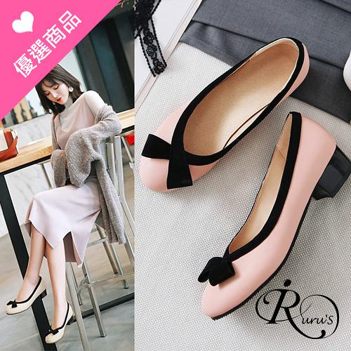 韓系甜美撞色拼接蝴蝶結造型低跟包鞋/3色/35-44碼 (RX0452-X99-1) iRurus 路絲時尚