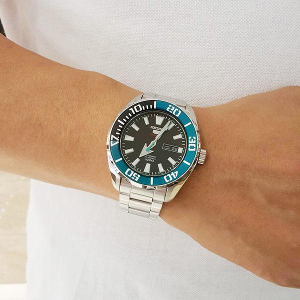 SEIKO 精工5號系列 新綠水鬼機械錶-黑x綠圈/46mm 4R36-06S0M(SRPC53J1)