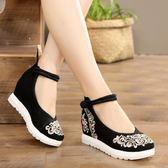 女鞋繡花鞋春夏季復古高跟民族風舞蹈鞋 LQ4486『黑色妹妹』