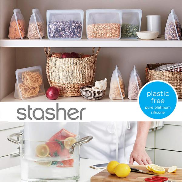 美國 Stasher 站站矽膠密封袋 食物保鮮防漏密封袋 密封袋 保鮮袋 收納袋 6248 公司貨