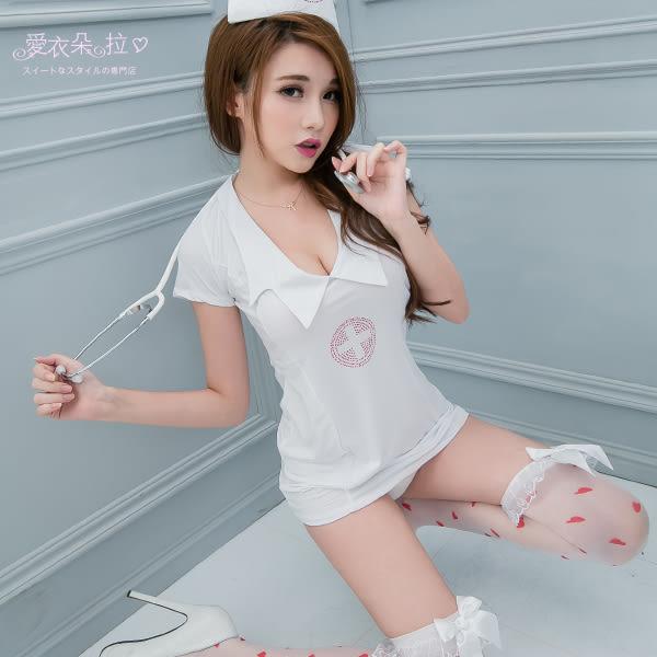 護士服 角色扮演性感變裝派對 裸背連身裙 洋裝/護士帽/丁字褲-愛衣朵拉