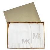 艾莉莎國際【現貨】MICHAEL KORS 水鑽鉚釘LOGO毛帽圍巾禮盒組(白色)-537817