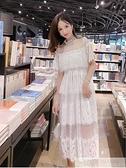 蕾絲洋裝2020夏天甜美氣質超仙仙女裙chic溫柔夏季仙氣蛋糕長裙  萬聖節狂歡