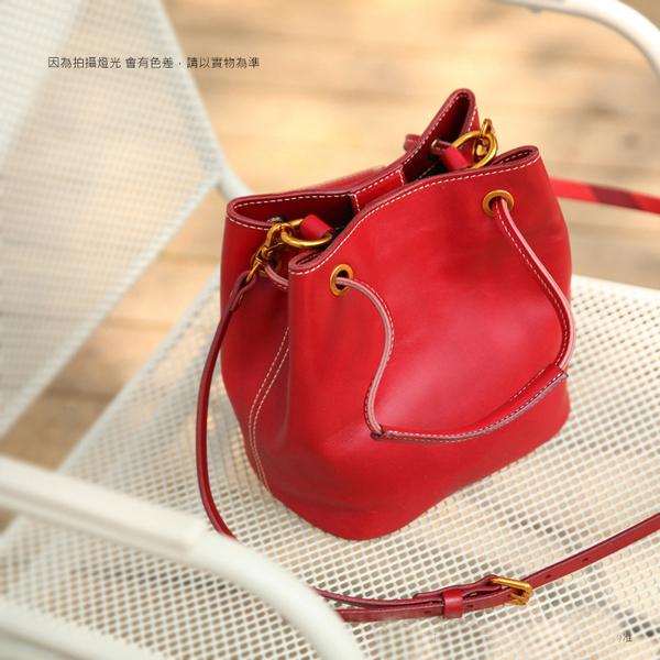 【Solomon 原創設計皮件】素色真皮水桶包