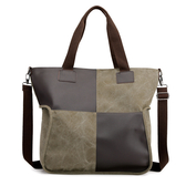 帆布手提包-撞色方塊大容量托特包女肩背包5色73wa45[時尚巴黎]