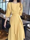 洋裝 法式初戀egg很仙泫雅收腰顯瘦桔梗洋裝過膝淡黃的長裙女夏