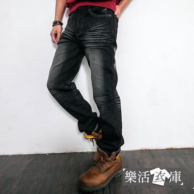 刷色內磨毛伸縮中直筒牛仔褲@樂活衣庫【6882】