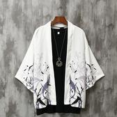 襯衫男 夏季七分袖襯衫男寬鬆中國風男裝防曬外套薄款古風很仙的情侶道袍 快速出貨