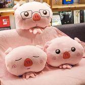 可愛小豬汽車載抱枕被子兩用空調毯子午休靠墊珊瑚絨三合一辦公室    萌萌小寵igo