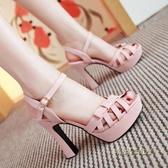 歐美羅馬百搭露趾涼鞋女粗跟防水臺高跟鞋一字扣帶夏季新款仙女鞋