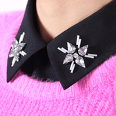 假領子-雪紡鑲嵌水鑽尖領女襯衫領片2色73va35【巴黎精品】