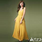 【AnZa 】 軟棉料背心綁帶連身寬褲