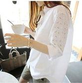 現貨白5XL 韓版休閒寬鬆襯衫S-5XL中大尺22107/新款寬松純色打底上衣T恤蕾絲拼接長袖襯衣