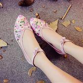 夏季新品歐根紗網紗透氣繡花鞋老北京旗袍鞋復古百搭低跟涼鞋