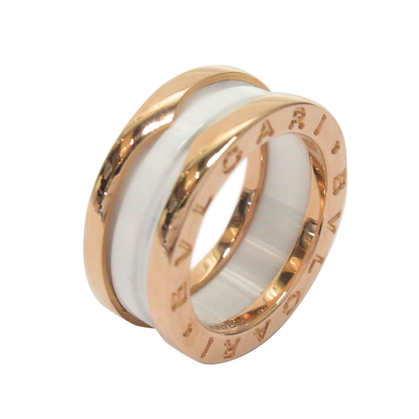 BVLGARI 寶格麗 B.zero1系列白陶瓷18K玫瑰金戒指 Two Band Ring【BRAND OFF】