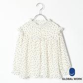 GLOBAL WORK童點點碎花捲捲邊鬆緊小立領胸前荷葉邊設計縮口鬆緊荷葉袖長袖上衣-三色