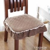 椅子坐墊毛絨冬季加厚凳子座墊套實木餐桌餐椅墊子防滑帶綁帶家用-ifashion