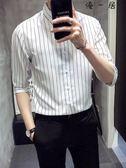 夏季男士短袖襯衫韓版修身五分袖條紋襯衣