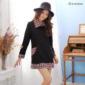 質感長版上衣--學院風味-格紋造型修身款假兩件長上衣/洋裝(黑.紅S-2L)-A126眼圈熊中大尺碼◎