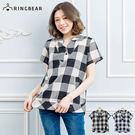加大尺碼--簡約設計無印日系風格V領棉麻格紋上衣(黑.藍XL-5L)-H88眼圈熊中大尺碼