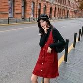 小香風連身裙紅色背帶裙女吊帶針織裙子女【聚可愛】【聚可愛】