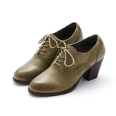 MICHELLE PARK 文青品味 雕花點點高跟牛津鞋-棕綠