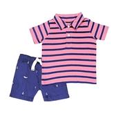 Carter s卡特 短袖POLO杉上衣+短褲 二件組 粉條紋 | 男寶寶套裝(嬰幼兒/小孩/兒童)