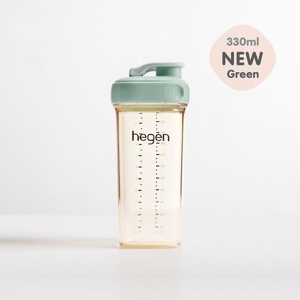 寶寶必備 學習水瓶 hegen新加坡 金色奇蹟 PPSU多功能方圓型寬口水瓶 330ml-漾綠