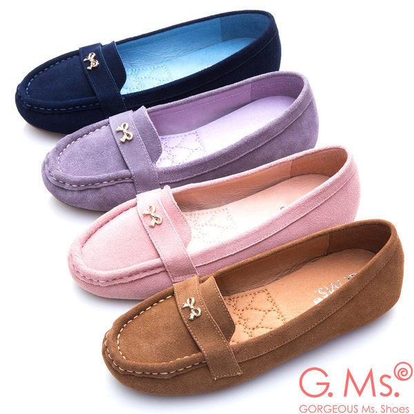 G.Ms.* 牛麂皮小金蝴蝶結莫卡辛鞋-寶藍