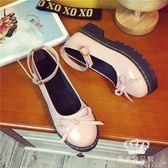 娃娃鞋 百搭女平底單鞋日系軟妹松糕厚底圓頭小皮鞋 艾米潮品館
