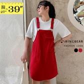 牛仔裙--清爽青春素面寬鬆吊帶H型牛仔連身裙(黑.紅L-3L)-Q127眼圈熊中大尺碼◎