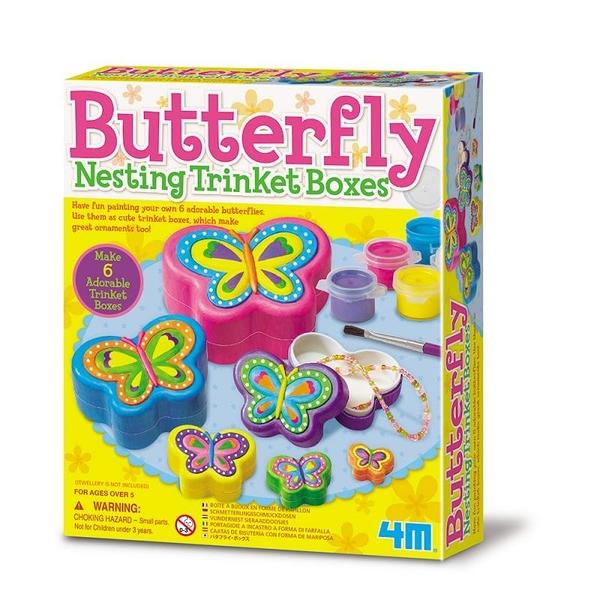 【4M】04664 美勞創意-彩繪蝴蝶珠寶盒 Butterfly Nesting Trinket