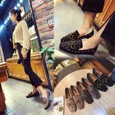 丁果、大尺碼女鞋35-40►2018春歐美明星款鉚釘蝴蝶結絨皮低跟樂福鞋3色
