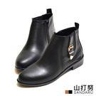 靴子 側釦飾鬆緊皮革短靴- 山打努SANDARU【329A8021#46】