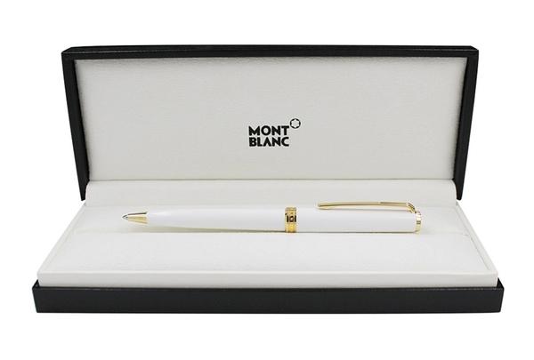 德國 MONTBLANC 萬寶龍 PIX 鍍金夾 白色 鋼珠筆 - 117658