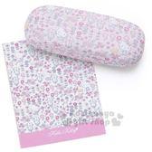 〔小禮堂〕Hello Kitty 皮質硬殼眼鏡盒《粉.花園》附眼鏡布.收納盒 4901610-67230