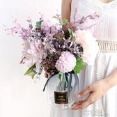 粉紫紅色妖姬繡球西洋牡丹仿真假絹塑料花灰色玻璃花瓶花藝浪漫 布衣潮人