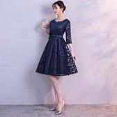 宴會禮服 晚禮服大碼女宴會新款氣質晚會藍色短款派對洋裝小禮服裙顯瘦