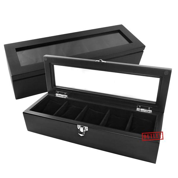 展示福利品85折↘ 手錶收藏盒 配件收納 腕錶收藏盒 5入收藏 實木質感 - 黑色 #815-5W-01-BK-defect