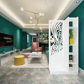 屏風隔斷客廳櫃雕花玄關櫃鏤空現代簡約裝飾白色折屏移動雙面門廳 限時降價
