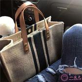 公事包 韓版女士手提公文包 職業通勤條紋簡約單肩大包包 ins大容量帆布包