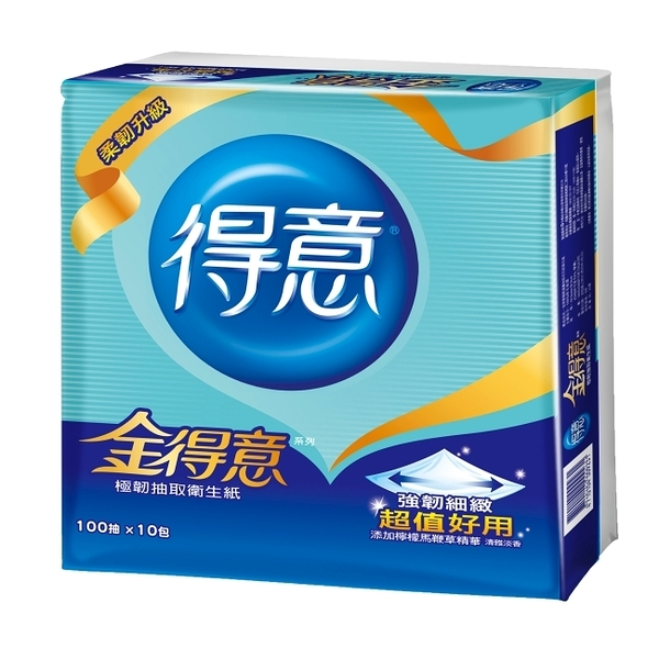 金得意極韌連續抽取式花紋衛生紙100抽x10包x7袋-箱購