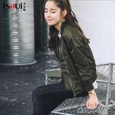 短款外套 春秋韓版棒球服女軍綠色寬鬆原宿風bf休閒飛行員夾克短外套女學生 coco衣巷