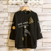 中大碼T恤 短袖t恤男2019夏季新款寬鬆ins五分韓版潮流男士體恤七分半袖上衣