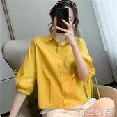 新款小個子七分袖休閒襯衫女設計感小眾寬鬆洋氣繫帶襯衣 可然精品