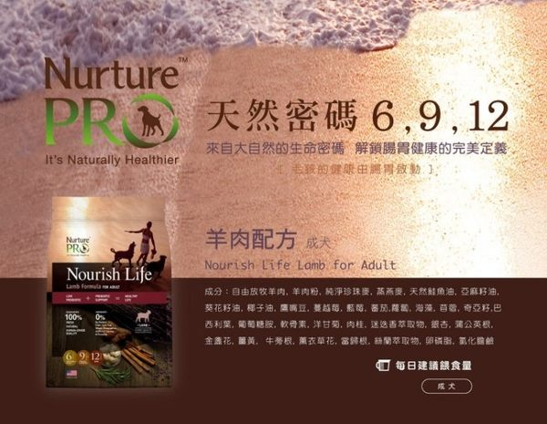 *WANG*【含運】美國Nurture PRO 天然密碼 低敏羊肉成犬配方11.8kg