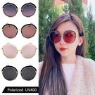偏光太陽眼鏡 菱格紋時尚圓框墨鏡 歐美網紅款 防眩光 高品質太陽眼鏡 抗紫外線UV400