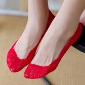 4雙|大紅色蕾絲短襪船襪結婚襪子薄款淺口隱形襪【聚寶屋】