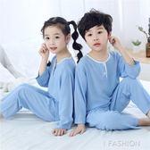 兒童睡衣男孩套裝夏季寶寶中大童男童女童長袖薄款綿綢棉綢家居服-Ifashion