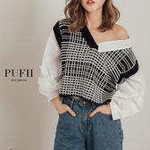 (現貨)PUFII-襯衫 經典格紋針織拼接襯衫假兩件式上衣 2色-1004 現+預 秋【ZP15267】